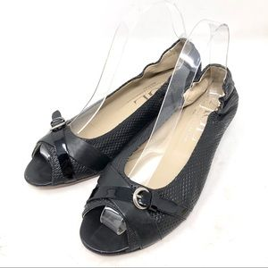 AGL Brandy Black Perforated Leather Peep Toe Wedge